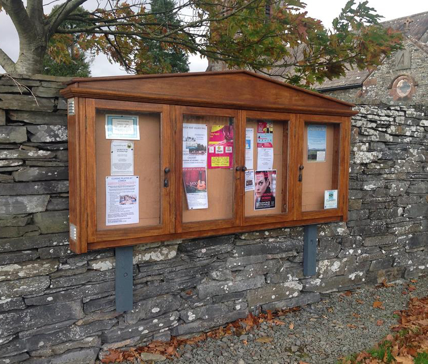 The noticeboard outside Lowick Commnity Hall